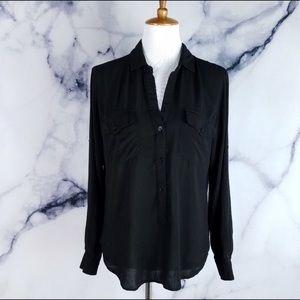 Anthropologie Cloth&stone Black Button Down Shirt